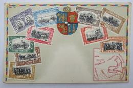 "(10/7/94) Postkarte/AK ""verschiedene Briefmarken Aus Romania"" Wappen, Mit Umgebungskarte Rumänien, Um 1900 - Timbres (représentations)"