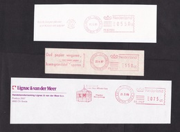 Netherlands: 3x Meter Cancel On Paper (cut-out), Paper Recycling, Environment, Waste (traces Of Use) - Periode 1980-... (Beatrix)