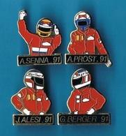 4 PIN'S  //  ** PILOTES // Alain PROST / Ayrton SENNA / Gerhard BERGER / Jean ALÉSI ** 1991 ** - Car Racing - F1
