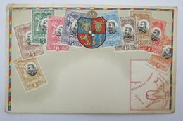 "(10/7/95) Postkarte/AK ""verschiedene Briefmarken Aus Romania"" Wappen, Mit Umgebungskarte Rumänien, Um 1900 - Timbres (représentations)"