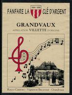 Rare // Etiquette De Vin // Musique //  Villette, Fanfare La Clé D'Argent - Musique