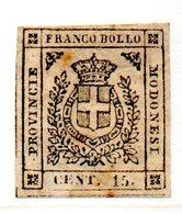 ASI76a - MODENA 1855 , Provvisorio 15 Cent  N. 14 Nuovo * Gomma Parziale - Modena