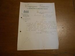 """Lettre """"Compagnie Viennoise"""" L.Scholtus Et Adolphe Thieuwis Vetements Textile Bruxelles 1913 - Textile & Vestimentaire"""