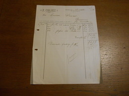 Facture F.Coliez Feuilles Toiles,papier Verré Bruxelles 1904 - Imprimerie & Papeterie