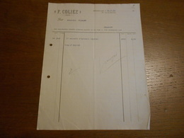 Facture F.Coliez Extrait Végétal Bruxelles 1904 - Printing & Stationeries