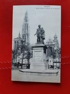 Anvers - Statue Rubens Et Fleche De La Cathedrale - Belgique