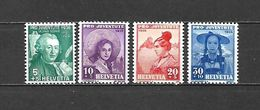 1938 - N. 316/19** (CATALOGO UNIFICATO) - Svizzera