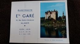 CALENDRIER 1958 ELECTRICITE ETS GARE ALGER RUE DENFERT ROCHEREAU VUE DES ENVIRONS DE BORT LES ORGUES CHATEAU - Calendriers