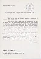 Encart Officiel 1988 Du Baptême Du Bureau De PARIS 70 Baptisé PARIS BUZENVAL Rue De Buzenval - Marcofilia (sobres)