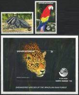 GRENADA GRENADINES 1992 Endangered Species Ant-Eater Parrot Jaguar Summit Fauna MNH - Pappagalli & Tropicali