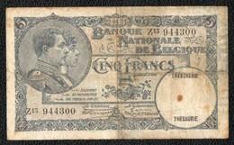 5F 1931 - [ 2] 1831-... : Regno Del Belgio