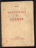 Souvenirs De Guerre, ALAIN. Guerre 1914-1918. Edition 1937 - Books