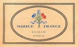 CARTE PARFUMEE - LUBIN  **DOUCE FRANCE **  -  (6 X 9 Cm) - PUB COIFFEUR PARFUMEUR AU DOS - 2 Scans. - Perfume Cards