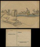 3.Reich - DR Feldpost Postkarte Mit Bild , Handzeichnung, Sphinx : Ungebraucht. - Deutschland