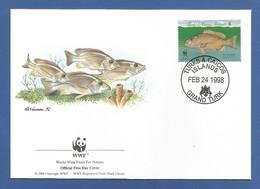 Turks & Caicos 1998 , Dog Snapper / Hundsschnapper - WWF Official First Day Cover  FEB 24 1998 - Turks & Caicos (I. Turques Et Caïques)