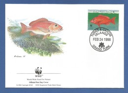 Turks & Caicos 1998 , Blackfin Snapper / Schwarzflossenschnapper - WWF Official First Day Cover  FEB 24 1998 - Turks & Caicos (I. Turques Et Caïques)