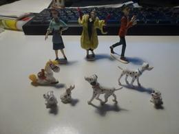 Lot 9 Figurines Trois Personnages Disney  Dalmatiens Jolly Jumper Lucky Luke - Disney