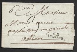 1813 - LAC - 62 ISSOIRE 24mm X 9mm (PUY DE DOME) Pour LYON - Marcophilie (Lettres)