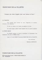 Encart Officiel 1988 Du Baptême Du Bureau De PARIS 99 Baptisé PARIS PARC DE LE VILLETTE Avenue Jean Jaurès - Marcofilia (sobres)
