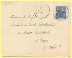 FRANCIA - France - 1929 - 50c Jeanne D`Arc + Cachet Convoyeur Ambulant - Viaggiata Da Longueville à Troyes Per Troyes - Francia