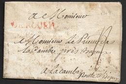 1749 - LAC - DE ROUEN En Rouge 40mm X 6mm Pour La CAMBE - Route D'Isigny - 1701-1800: Précurseurs XVIII