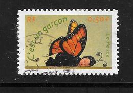 FRANCE 3635 Adhésif 41 Naissance C'est Un Garçon Bébé Papillon   . - France