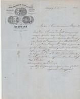 Facture Illustrée1864 BEAUJARD Construction Pressoirs Vin SAVIGNY Près Beaune Côte D' Or  Timbre à Chassagny S Et L - 1800 – 1899