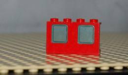 Lego Fenêtre Rouge 1 X 4 X 2 Avec Vitre Bleu Transparent Ref 4863c01 - Lego Technic