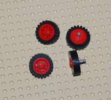 Lego Lot 4x Roue Ancienne A Rayon Avec Pneu Noir Ref Bb19c02 Roue Ref Bb19 Pneu Ref 3483 - Lego Technic