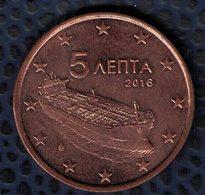 Grèce 2016 Pièce De Monnaie Coin 5 Euro Cent Bateau Globe étoiles - Greece