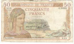 Billet 50 Francs France Cérès 15-6-1939 - 1871-1952 Frühe Francs Des 20. Jh.