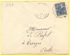 FRANCIA - France - 1929 - 50c Jeanne D`Arc + Cachet Convoyeur Ambulant - Viaggiata Da Longueville à Troyes Per Troyes - Storia Postale