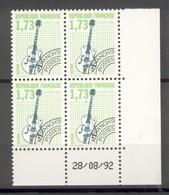 Coins Datés Preoblitérés 1992 N° 224 à 227 Neufs XX Sans Charnières Ni Traces - Guitare - Saxo Banjo Xylophone - 1989-....