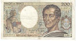 Billet De 200 Francs Montesquieu 1981 - 1962-1997 ''Francs''