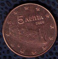 Grèce 2009 Pièce De Monnaie Coin 5 Euro Cent Bateau Globe étoiles - Grèce