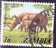 Sambia Zambia - Spitzmaulnashorn (Diceros Bicornis) (Mi.Nr.: 141) 1975 - Gest Used Obl - Zambia (1965-...)