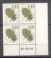 Coins Datés Préoblitérés 1994 N° 232 à 235 Neufs XX Sans Charnières Ni Traces - Chêne - Platane  Maronnier - Houx - 1989-....