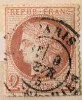 Timbre France III République 1871-75 (°) 2c Rouge Brun Cérès Grands Chiffres YT 51 (côte 20 Euros) – 386d - 1871-1875 Cérès