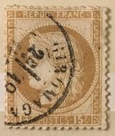 Timbre France III République 1871-75 (°) 15c Bistre Cérès Grands Chiffres YT 55 (côte 5 Euros) – 386e - 1871-1875 Cérès