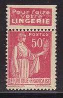 PUBLICITE: TYPE PAIX 50C ROUGE RISBAN-lingerie ACCP 926 NEUF* - Advertising