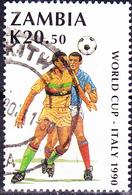 Sambia Zambia - Fußball-WM Italien (Mi.Nr.: 518) 1990 - Gest Used Obl - Zambia (1965-...)