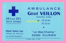 CARTE DE VISITE  Ambulance Gerard  VEILLON  à PLURIEN - Visiting Cards