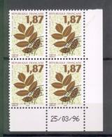Coins Datés Preoblitérés 1996  N° 236 à 239 Neufs XX Sans Charnières Ni Traces - Frêne-Hêtre-Noyer-Orme - 1989-....
