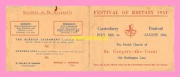 PROGRAMME DU FESTIVAL OF BRITAIN 1951 Du Canterbury Festival Du July 18th To August10th - Programmes