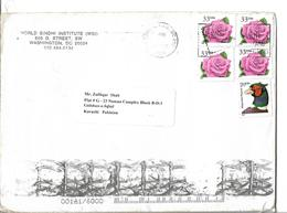 USA 1999 33¢ CORAL PINK ROSE Block Of 4 Postal History Cover Sent To Pakistan. - United States