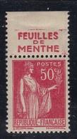PUBLICITE: TYPE PAIX 50C ROUGE RICQLES-feuilles De Menthe ACCP 919 NEUF* - Advertising