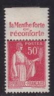 PUBLICITE: TYPE PAIX 50C ROUGE RICQLES-menthe Forte Réconforte ACCP 922 NEUF* - Advertising