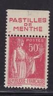 PUBLICITE: TYPE PAIX 50C ROUGE RICQLES-pastilles De Menthe ACCP 921 NEUF** - Advertising