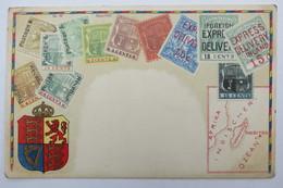"""(10/7/96) Postkarte/AK """"verschiedene Briefmarken Aus Mauritius"""" Wappen, Mit Umgebungskarte Indischer Ozean, Um 1900 - Timbres (représentations)"""