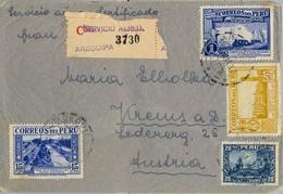 1937 , PERÚ , SOBRE CERTIFICADO , VIA AÉREA , AREQUIPA - AUSTRIA - Perú